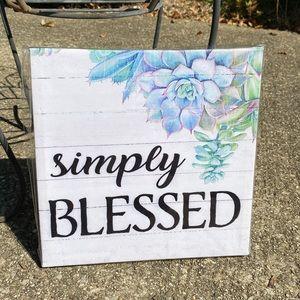 "2/$15 Canvas Print Blessed Succulent Art 8""x8"""